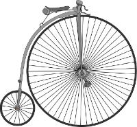 Drawing of a Penny farthing bicycle.