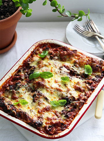 Kale and Mushroom Lasagne with Herbed Ricotta (Gluten Free)