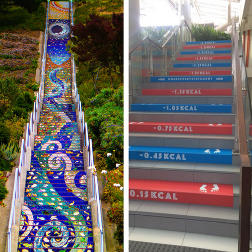 Images of two sets of stairs - 1 painted with a fantastical path and other other with the number of kilocalories burnt based on number of steps.